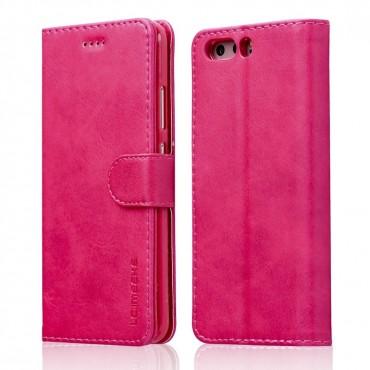 Луксозен кожен флип калъф/тип тефтер за Huawei P10, LC.IMEEKE, Розов